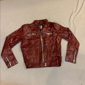 Crimson Faux Snakeskin Jacket by One Step Up